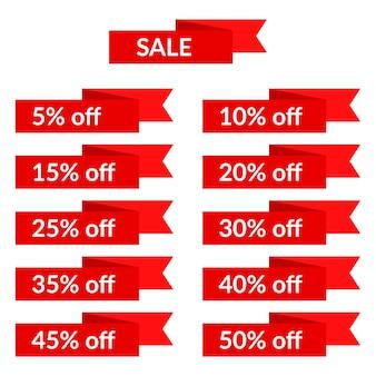 Set di nastri di vendita rossi con diversi valori di sconto. modello di etichetta di vendita. illustrazione vettoriale