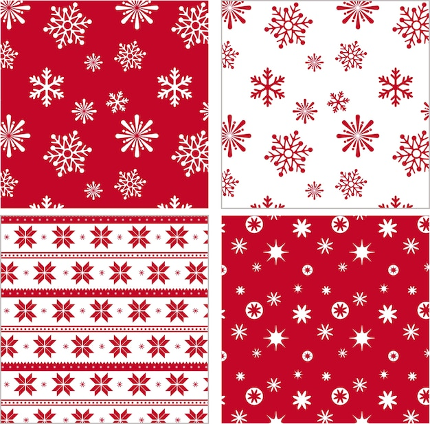 Set di pattern rosso fiocco di neve senza soluzione di continuità