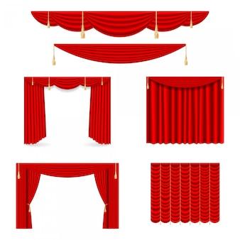 Set di tende di seta rosse con luci e ombre di aperte e chiuse.