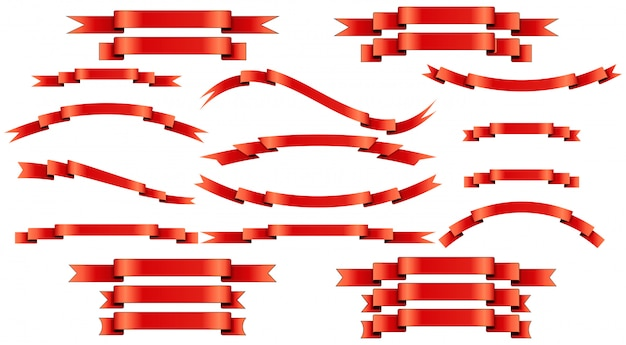 Set di nastri di seta rossa su sfondo bianco.