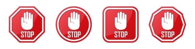 Insieme del segno rosso della mano di arresto in diverse forme