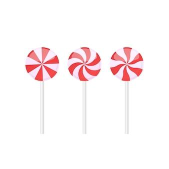 Set di caramelle lecca-lecca rosse e bianche con vari modelli di raggi. illustrazione vettoriale isolato su sfondo bianco