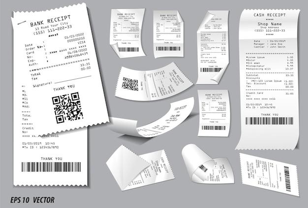 Set di ricevuta di vendita del registro o ricevuta di cassa stampata su carta bianca concetto vettoriale eps