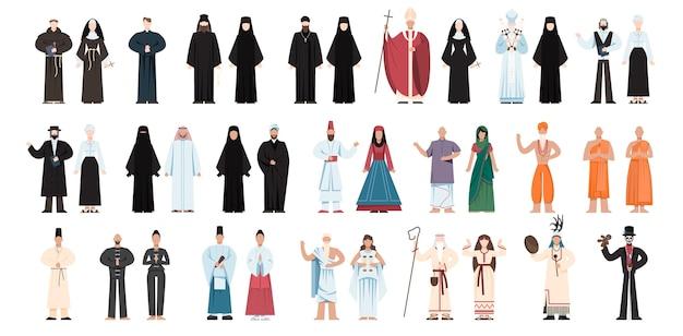 Insieme di persone di religione che indossano uniformi specifiche. collezione di figure religiose maschili e femminili. monaco buddista, sacerdoti cristiani, giudaista rabbino, mullah musulmano. illustrazione