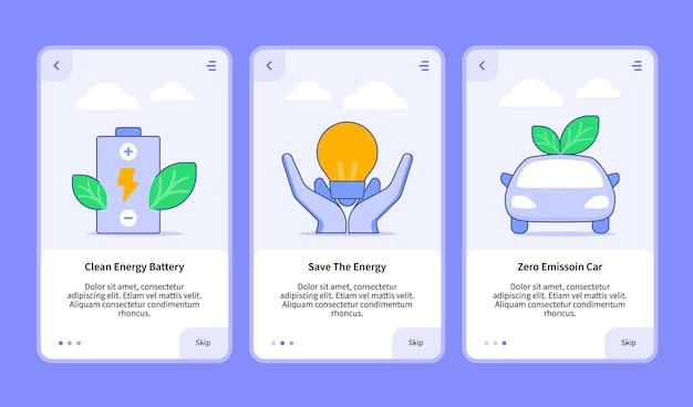 Set di illustrazioni di energia rinnovabile per app mobile