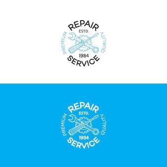 Set di logo del servizio di riparazione con attrezzi