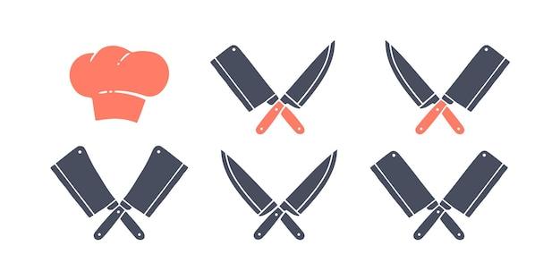 Set di icone di coltelli da ristorante, chef di cappello. coltelli da macellaio silhouette - coltelli da mannaia e chef e cappello da cuoco. modello di logo per il business della carne - negozio, mercato o design dell'agricoltore. illustrazione vettoriale