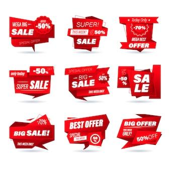 Set di badge di vendita al dettaglio. stile origami di shopping online di adesivi per banner e banner sui social media, badge per siti web, marketing, etichette e adesivi per modello di promozione di prodotti. illustrazione. Vettore Premium
