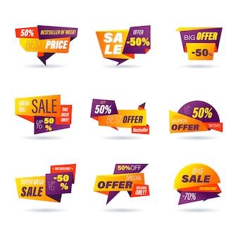 Set di badge di vendita al dettaglio. stile origami di shopping online di adesivi per banner e banner sui social media, badge per siti web, marketing, etichette e adesivi per modello di promozione di prodotti. illustrazione.