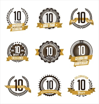 Set di badge anniversario retrò