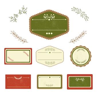 Set di disegni retro badge. illustrazione vettoriale