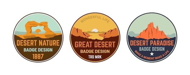 Set di adesivi patch distintivo retrò della collezione tramonto collina montagna