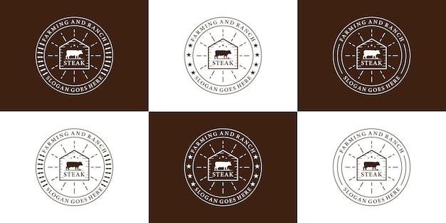 Set di design del logo della steak house con badge retrò per ristorante e ranch