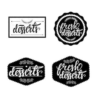 Set di badge retrò con scritte per cafe. illustrazione vettoriale