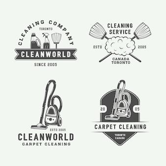Insieme dell'emblema dei distintivi del logo di pulizia retrò