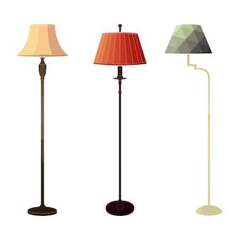 Set di lampade da terra colorate retrò su sfondo bianco nello stile di un poligono