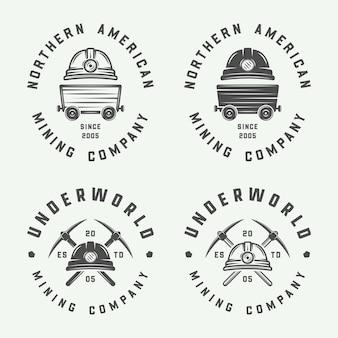 Set di badge ed etichette con logo retrò per miniere o costruzioni in stile vintage