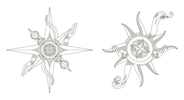 Set di bussole nautiche retrò. antichi segni nautici.