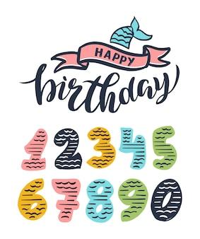Set di numeri retrò. compleanno distintivo, festa della sirena. collezione