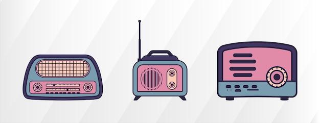 Set di modello di progettazione di logo di registratore radio retrò isolato