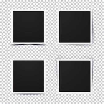 Set di cornice per foto realistica retrò con diverse opzioni di ombra su sfondo trasparente.