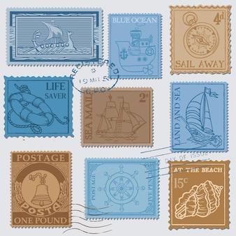 Set di francobolli retrò sea post