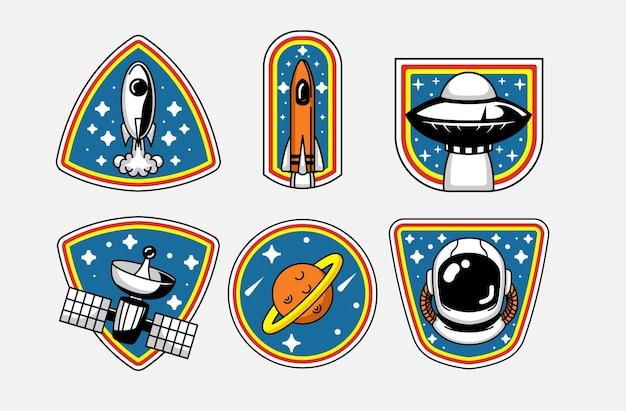 Set di design del logo distintivo dello spazio retrò