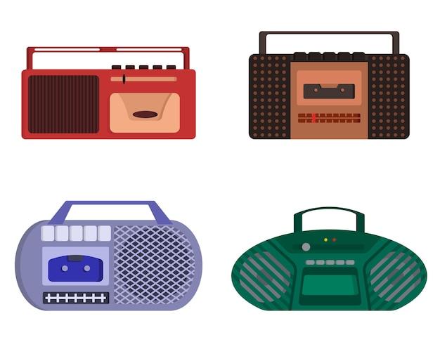 Set di registratori a nastro retrò. apparecchiature obsolete in stile cartone animato.