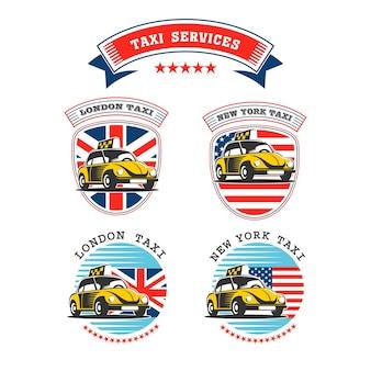 Una serie di emblemi di taxi retrò.