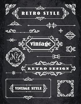Set di retro annate, cornici, etichette e bordi d'epoca.