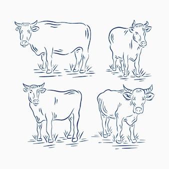 Set di bovini o mucche vintage retrò in illustrazione di fattoria