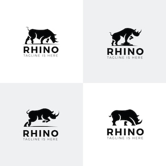Set di loghi di rinoceronte