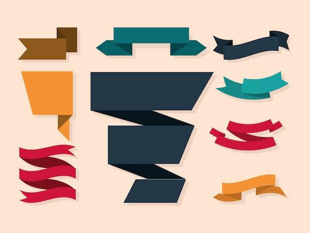 Set di banner di nastri