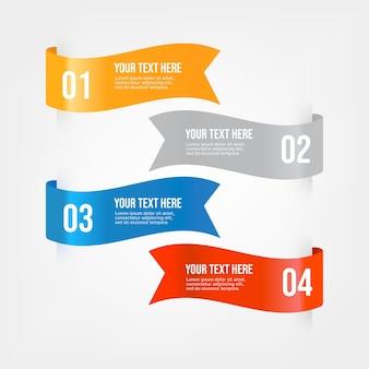 Set di nastri infografica banner.