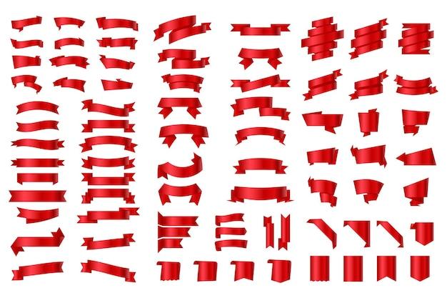 Set di nastri ed etichette. bandiere e bandiere del nastro rosso. nastri striscioni piatti isolati su sfondo bianco, set di illustrazioni di burocrazia. oggetti simili a bandiere. striscioni a nastro. insieme dei nastri di vettore rosso.