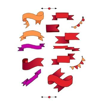 Set di nastri. illustrazione vettoriale di diversi colori.