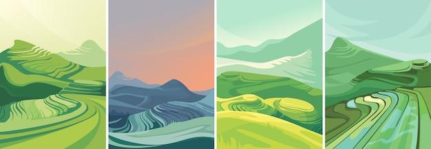 Set di terrazze di riso con orientamento verticale