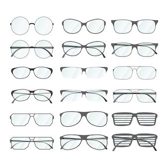 Set di occhiali da vista in stile diverso su bianco