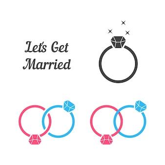 Set di anelli come sposarsi. concetto di festa di invito, sposa, sposo civile, gemma, preziosa, coniuge, festa celebra. stile piatto tendenza moderna anello logo design illustrazione vettoriale su sfondo bianco