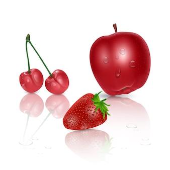 Set di frutta matura, mela rossa, ciliegia e fragola