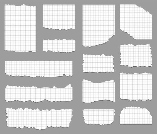 Set di carta cellulare strappata e strappata in quadrato