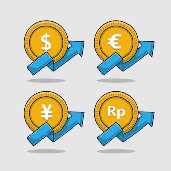 Insieme dell'illustrazione delle icone di valuta in aumento