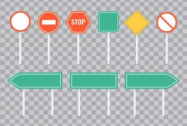 Insieme di segnali stradali e segnali stradali verdi. isolato su trasparente