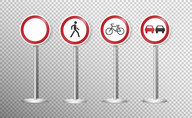 Insieme dei segnali stradali isolato su trasparente. .