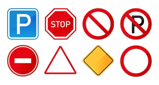 Insieme dei segnali stradali isolati su priorità bassa bianca. cartello stradale.