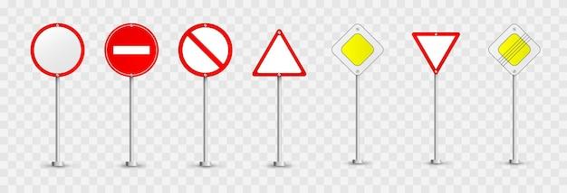 Serie di segnali stradali. segnali stradali . segnali di priorità, segnali di divieto.