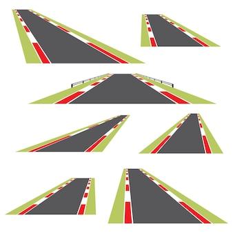 Insieme di strade isolate su sfondo bianco. illustrazione vettoriale.