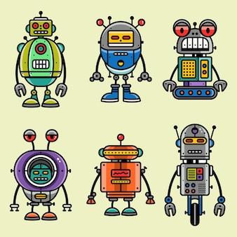 Set di personaggi robot in stile cartone animato illustrazione vettoriale di robotica