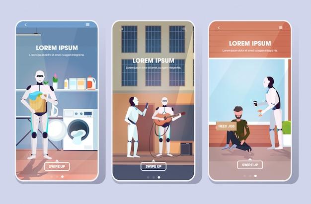 Impostare robot dare cibo per mendicante tenendo il cesto della biancheria suonare la chitarra intelligenza artificiale tecnologia concetto smartphone schermi raccolta mobile app copia spazio orizzontale