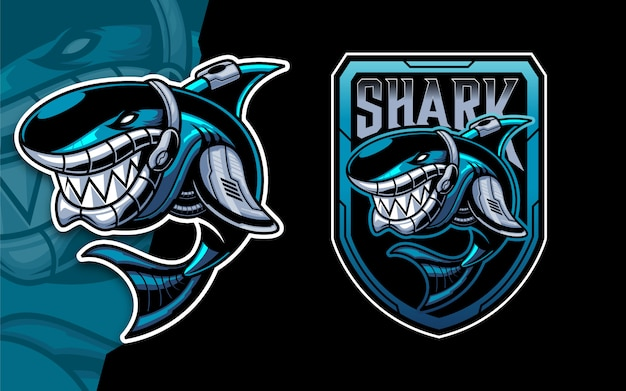 Set di robot squalo esport logo mascotte